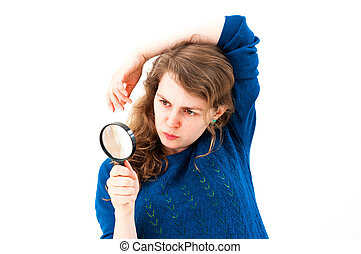 Dramatic woman with magnifying glass