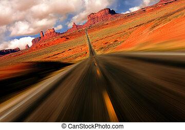 dramatický, pomník údolí, arizona, míle, 13, názor