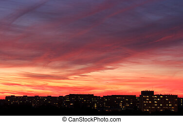 Dramatics sky over the city during the sunset