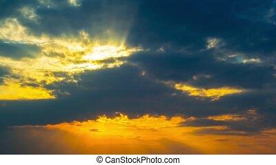 dramatique, ciel coucher soleil, timelaps