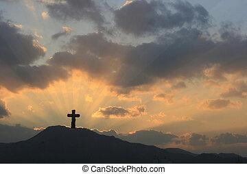 dramatique, coucher soleil, croix