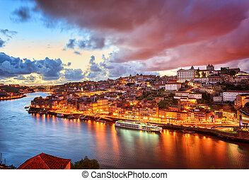 dramatique, coucher soleil, porto, portugal