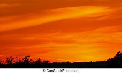 dramatique, coucher soleil, rouges, timelapse