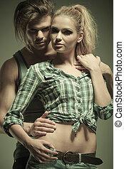dramatique, mode, couple, image