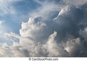 dramatique, nuages, orage