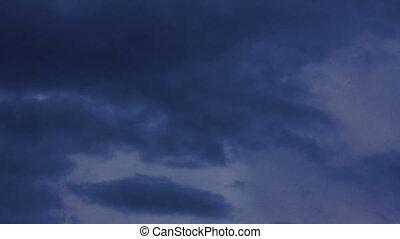 dramatique, nuages, orage, timelapse