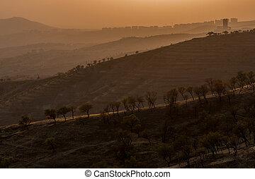dramatique, paysage, de, les, elazig, ville, à, coucher soleil