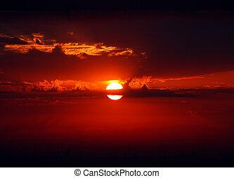 dramatique, rouges, levers de soleil