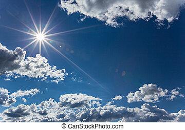dramatisch, blauer himmel, mit, wolkenhimmel, und, sonne