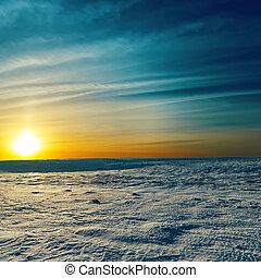 dramatisch, sonnenuntergang, in, winter