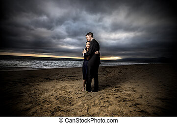 dramatisch, verlobung , sandstrand