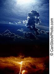 dramatisk himmel, lynnig