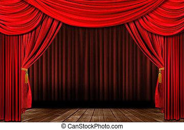 dramatisk, röd, hävdvunnen, elegant, teater, arrangera