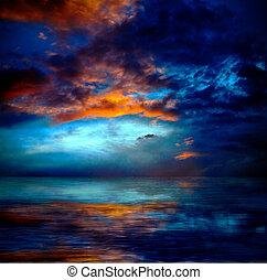 dramatisk, skyn