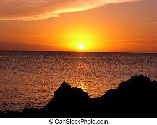 dramatisk, solnedgång