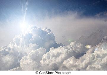 dramatisk, stormmoln, med, sol
