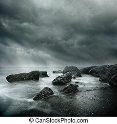 dramatiske, coastal, scene