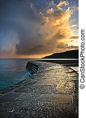 dramatiske, coastal, solnedgang