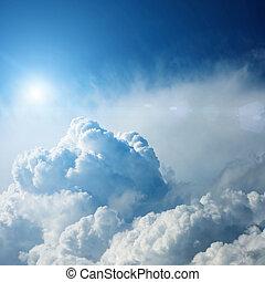 dramatiske, storm sky, hos, sol