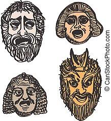 drame, grec, masques