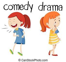 drame, mots, opposé, comédie