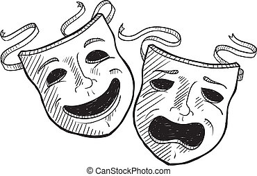dramma, schizzo, maschere