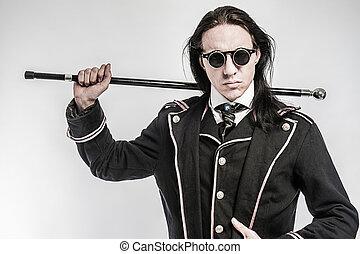 dramma, steampunk, gentelmen, carattere, costume