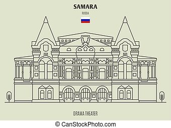 dramma, teatro, samara, russia., punto di riferimento, icona