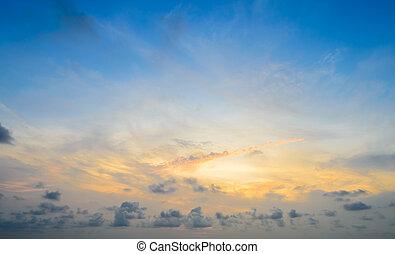 drammatico, alba, cielo, fondo