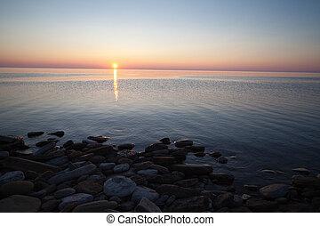 drammatico, alba, su, lago huron, canada