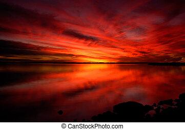 drammatico, tramonto