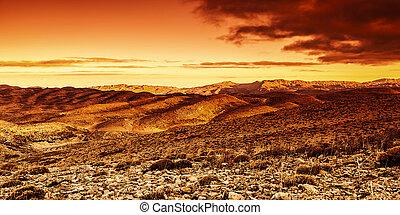 drammatico, tramonto, in, deserto