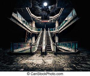 drammatico, vista, di, danneggiato, e, costruzione abbandonata