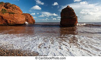 Ladram Bay Devon England UK - Dramtic red Jurassic cliffs at...