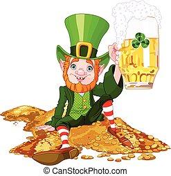 Drank Leprechaun - Illustration of a cute drank leprechaun