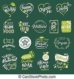 drank, restaurant, product, set, organisch voedsel, etiketten, gezond voedsel, natuurlijke , producten, communie, e-handel, fris, winkel, boerderij, promotion.