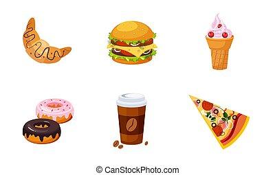 drank, room, croissant, koffie, voedingsmiddelen, dessert, vaat, illustratie, set, vector, vasten, donut, hamburger, pizza, ijs