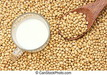 drank, soymilk, soybean, voeding