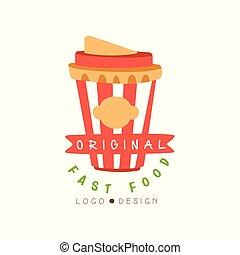 drank, voedingsmiddelen, menu, vasten, origineel, vector, illustratie, achtergrond, takeaway, logo, witte , badge, ontwerp