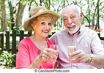 dranken, paar, champagne, senior
