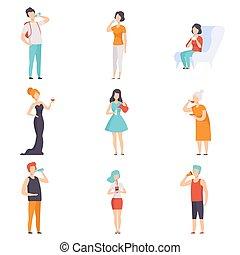 dranken, thee, mensen, set, mannen, melk, wijntje, vector, water, achtergrond, koffie, illustraties, witte , drinkt, vrouwen