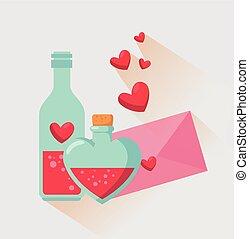 drankje, liefde, valentijn, fles, boodschap, kaart