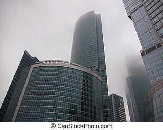 drapacze chmur, handlowy, straszliwy, nowoczesny, szkło, środek