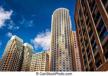 drapacze chmur, w, śródmieście, boston, massachusetts.
