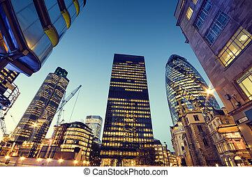 drapacze chmur, w, miasto, od, london.