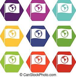 drapeau, à, mondiale, planète, icône, ensemble, couleur, hexahedron