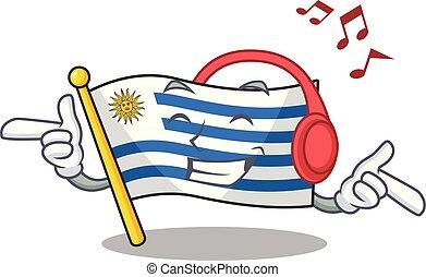 drapeau, écoute, caractère, musique, dessin animé, uruguay