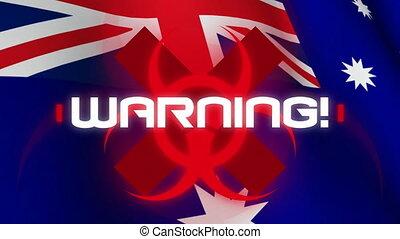 drapeau, écrit, australien, mot, avertissement, sur, arrière...