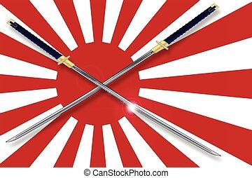 drapeau, épées, japonaise