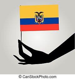 drapeau, équateur, main femelle